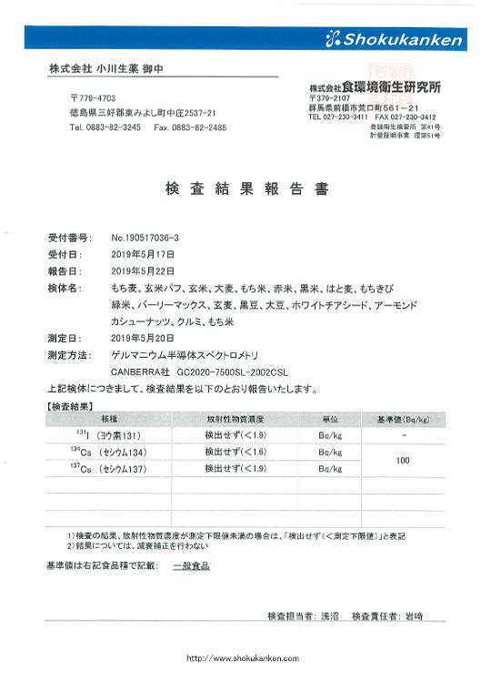 検査結果報告書2019